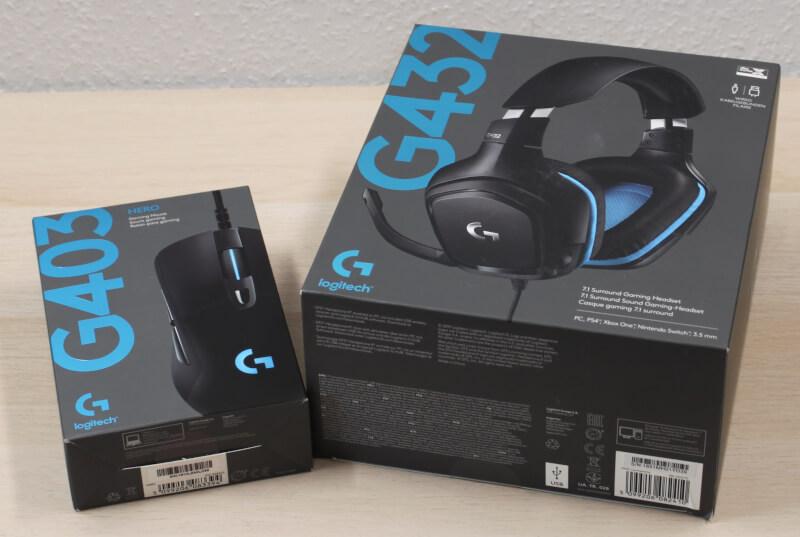 Logitech G403 HERO og G432 headset og mus