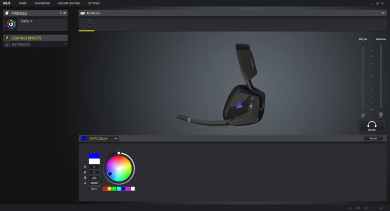 software RGB Corsair RGB Void Elite trådløs gaming