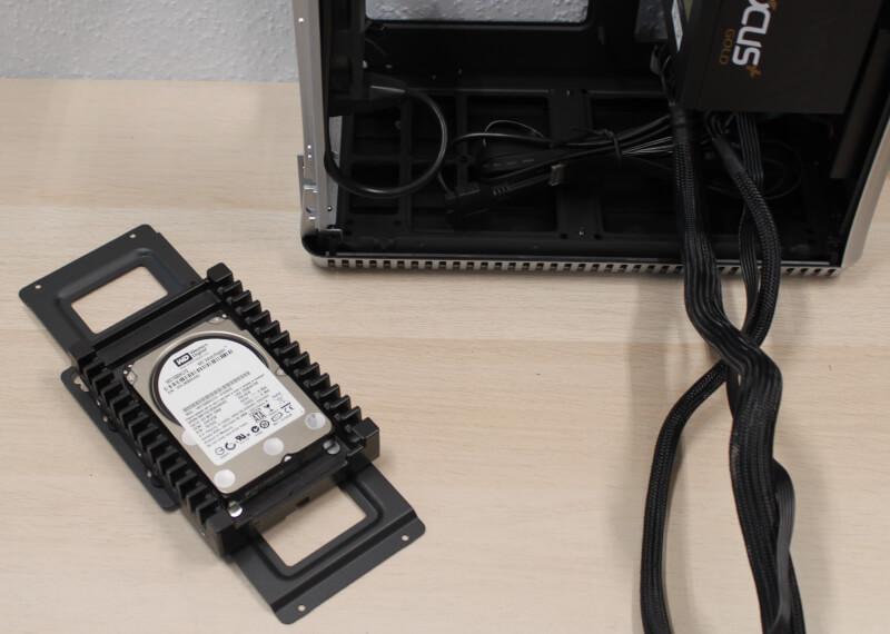kabinet Fractal test SFX Era ITX design gaming Design review drive bay montering af harddisk bur