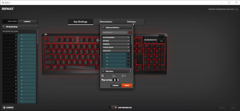 RGB gamer SteelSeries software engine 3Apex 3 switche
