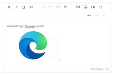 Dansk stavekontrol i Microsoft Edge