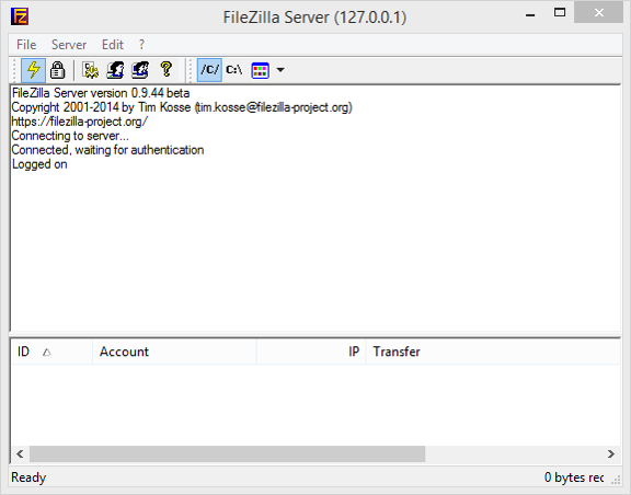 FileZilla server start