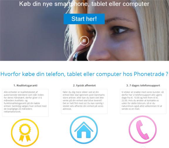 Phonetrade.dk side