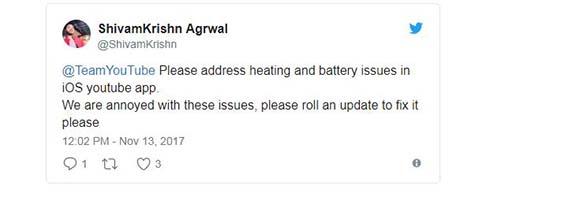 YouTube skyld i batteriet drænes i iOS 11