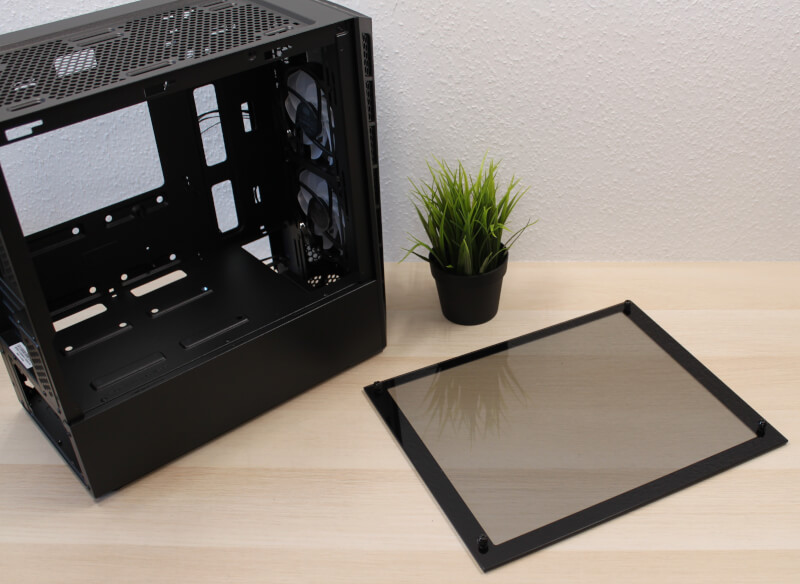 sidepanel_hærdet_glas_cooler_master_gaming_ARGB_kabinet_mini_tower_modulært
