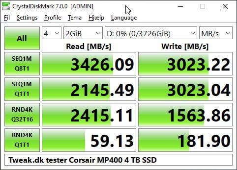 MP400 4TB NVME SSD Corsair test tweakdk