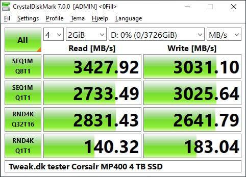 crystaldiskmark MP400 4TB NVME SSD Corsair